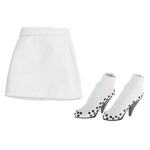 P Prettyia 1/6 Minirock Lederrock und High Heel Schuhe Puppenkleidung Zubehör für 12inch Actionfigur