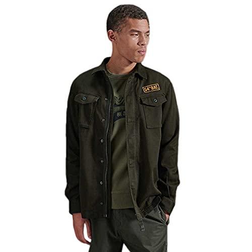 Superdry Hombre Camisa con Parches y Estilo Militar...