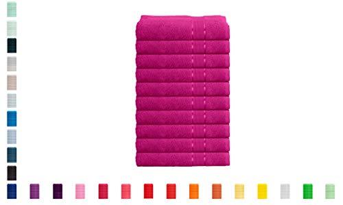 Mixibaby - Juego de 10 Toallas de Mano, Toalla de Ducha, Toalla de baño de Rizo 100% algodón, Toalla de Mano de 50 x 100 cm, Color Rojo Vino
