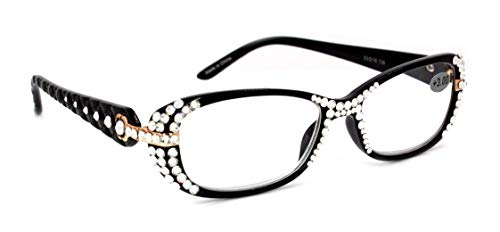 Glamour Quilted, Bling Reading Glasses Women with Clear Swarovski Crystals +1.25 +1.5 1.75 +2 +2.25 +2.5 +2.75 +3.00. Black. NY Fifth Avenue.