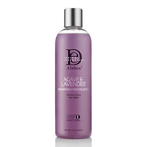 Design Essentials Agave & Lavender Moisturizing Hair Bath, Sulfate-Free Shampoo- Blow-Dry & Silk Press Collection - 12oz