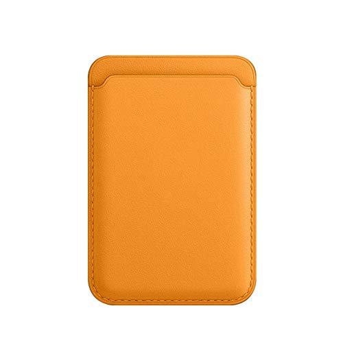 ZGBQ Portafoglio per Carte Sicuro per iPhone12 / 12 PRO / 12 PRO Max Custodia Magnetica Porta Carte in Pelle MagSafe (Giallo)