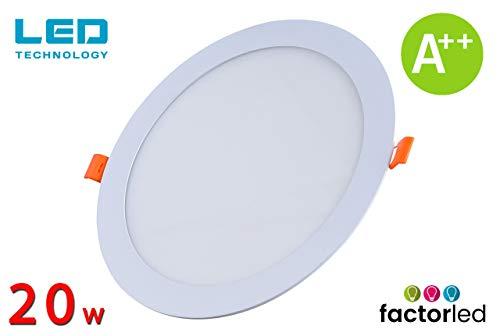 FactorLED ¡OFERTA! Downlight LED 20W Slim, Placa Circular Empotrable, Panel Redondo Extraplano 2400 lúmenes, Corte techo Φ205mm, [Clase de eficiencia energética A++] (Luz Fría (6000K))