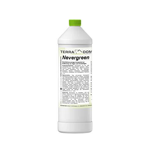 TerraDomi Nevergreen, 1 Liter Konzentrat 1:60, Moosentferner für bis zu 3000 m², Dachreiniger, Grünbelagentferner, Moosvernichter,Reinigungsmittel, Steinreiniger