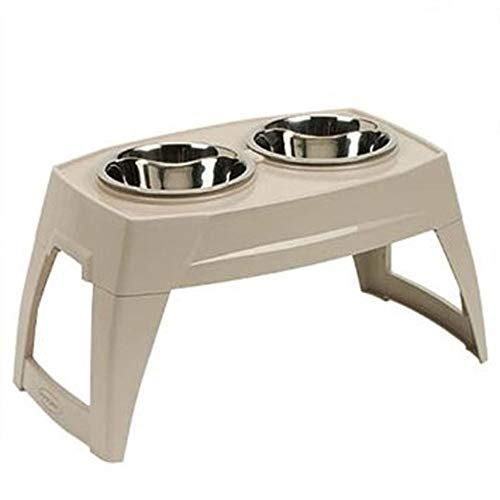 Suncast Elevated Dog Bowls - Double Food Bowls - Elevated Adjustable Feeding Station for Large Dogs - Two Bowls for Food and Water - Taupe