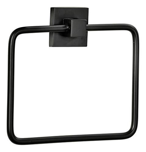 FACKELMANN Handtuchring New York/hochwertiger Handtuchhalter-Ring fürs Bad/Maße (B x H x T): ca. 19 x 17 x 3,5 cm/Accessoire fürs Badezimmer & WC/kubisches Industriedesign/Farbe: Schwarz