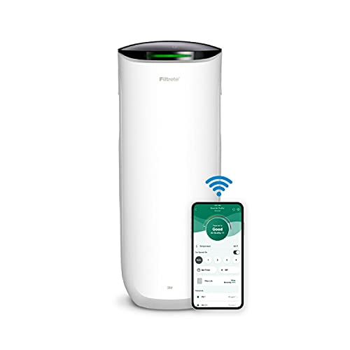 Filtrete Smart Air Purifier & Air Quality Monitor for Large Rooms, up to 310 sqft, Alexa enabled, Wi-Fi Simple Setup, True HEPA Filter for Allergens, Dust, Bacteria, & Viruses, Alexa smart reorders