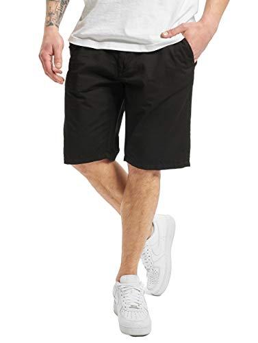 Urban Classics Herren Straight Leg Kurze Chino Hose mit Gürtel Shorts, Black, S