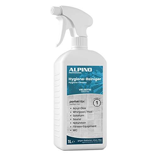Alpino Hygiene-Spray 1 L | Solarium Reiniger, Whirlpool Reiniger, Acrylglas Reiniger, Sauna Reiniger (Holz), Fitness-Geräte-Desinfektion Spray, Schwimmbad Reiniger, Naturstein Reiniger