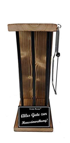 * Alles Gute zur Hauseinweihung - Eiserne Reserve ® Black Edition - Rohling zum SELBST BEFÜLLEN - Größe M - incl. Säge zum zersägen der Stäbe - Die Geschenkidee