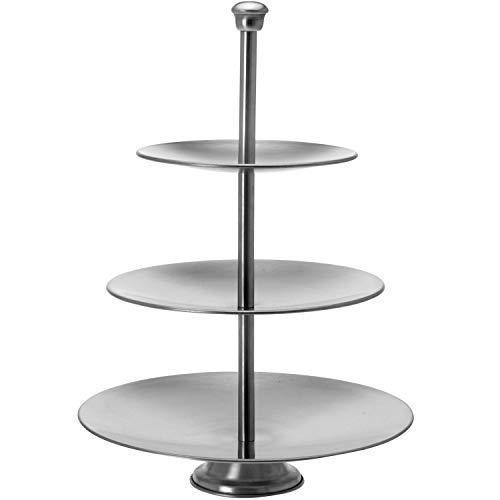Bandeja redonda de acero con 3 niveles de diámetro 25/20,5/16 x altura 36,5 cm
