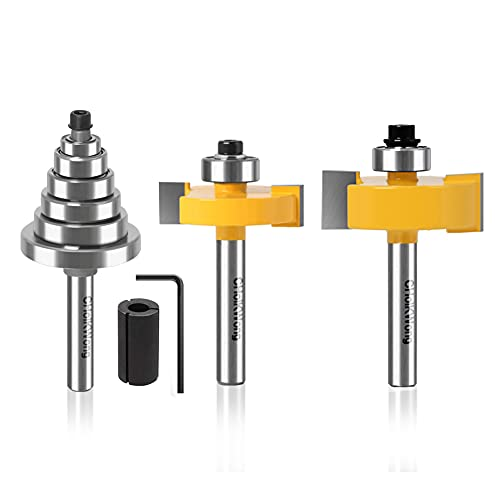 1/4 Inch Shank Rabbet Router Bit with 6 Bearings, CHoiKWong Carbide Tipped Rabbeting Router Bit Set for (Multi Depths 1/2