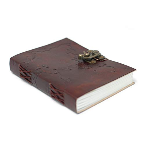 Ancient Wisdom Leather World Map & Stitching Notebook (7x5)