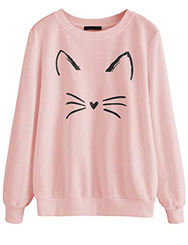 Product Image of the ROMWE Women's Cat Print Lightweight Sweatshirt Long Sleeve Casual Pullover Shirt...