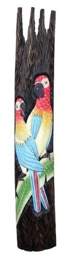100cm reliëf met PAPAPAGEI masker vogel dier hout WRel01