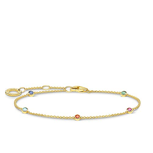 Thomas Sabo Gold Coloured Stones Bracelet 925 Sterling Silver 16-19 cm Length