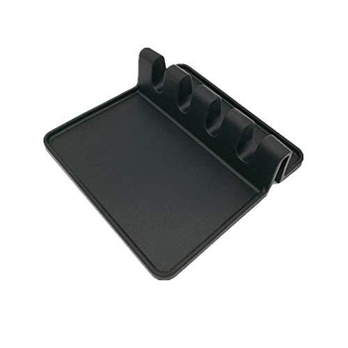 Fyuan Repose cuillère en silicone-Grand cuisine en silicone spatule,repose cuillère silicone, spoon holder- Noir