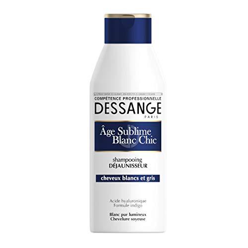 Dessange Shampooing Age sublime blanc chic, déjaunisseur, cheveux blancs et gris - Le flacon de 250ml