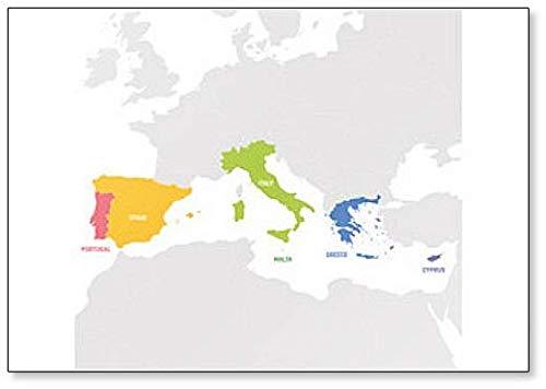 Regio Zuid-Europa. Kaart van de Landen in Zuid-Europa Rond de Middellandse Zee Koelkast Magneet