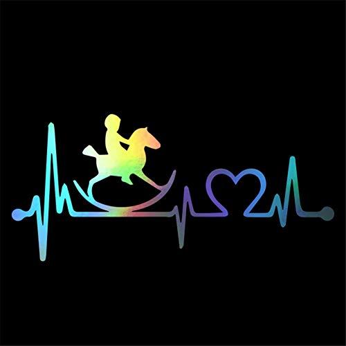 WARMBERL Car Sticker Rocking Horse Heartbeat Lifeline Car Sticker Vinyl Heartbeat Lifeline Car Window Sticker 19.4cm*8.9cm Car Decal