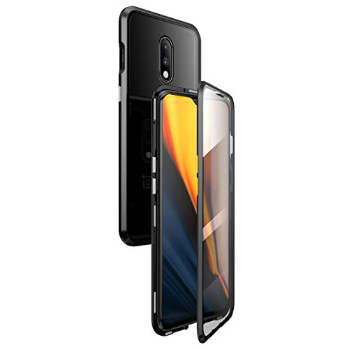 360° Full Body Case for OnePlus 6T / OnePlus 7,[HD Clear Touchable Protective Front and Strong Tempered Glass Back] with Built-in Screen Protector Magnetic Adsorption Metal Protection Cover (Black)