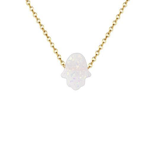 Karisma Damen Edelstahl Gold Collier Anhänger Kette - Halskette Opal Fatimas Hand Hamsa - YLK105.Weiss