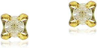 Golden Choice 18K Solid Gold 0.03ct Tiny Genuine Diamond Stud Earrings