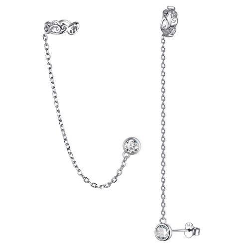 ChicSilver Small Cubic Zirconia Stud Earrings - Celtic Knot Ear Cuff Earrings Chain Sterling Silver Hypoallergenic CZ Earrings Studs Crystal Wrap Earrings for Women Crawler Earrings