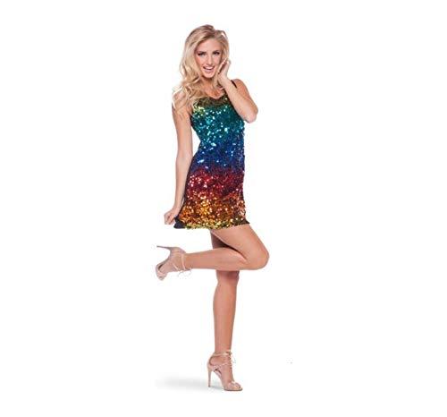 Folat 22005 Rainbow - Vestido de lentejuelas multicolor (talla M/L), multicolor.