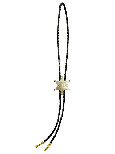 Sunrise Outlet Men's Western Bolo Tie Gold Tone Sheriff Badge with Black Leatherette - 18 inch hang