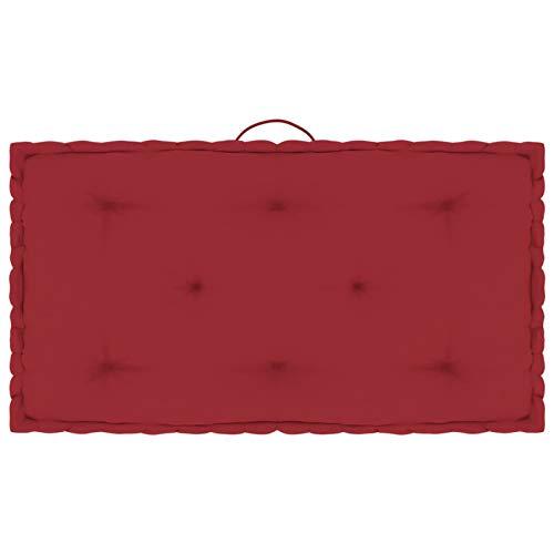 Tidyard Cojín para Palé de Suelo Cojines para Palets Exterior Algodón Rojo Burdeos 73x40x7 cm