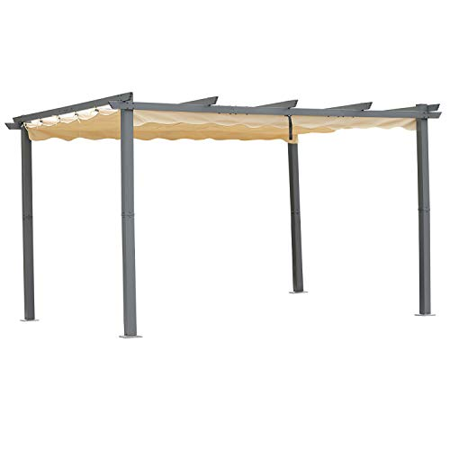 Angel Living Aluminum Garden Pergola, Gazebo with Retractable Roof Canopy for Outdoor Patio (3x4m, Beige)