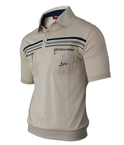 Soltice Herren Kurzarm Gestreifte Poloshirts, Polohemden, Blousonshirts mit Knopfleiste aus hochwertiger Baumwolle (M bis 3XL) (XL, [A] Beige)