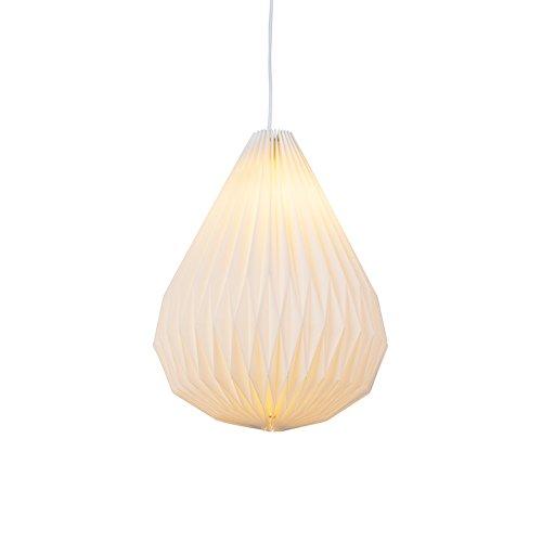 QAZQA Modern Moderne Pendelleuchte/Pendellampe/Hängelampe/Lampe/Leuchte aus Papier weiß - Paper Cone/Innenbeleuchtung/Wohnzimmerlampe/Schlafzimmer/Küche Papier/Tau Rund LED geeignet