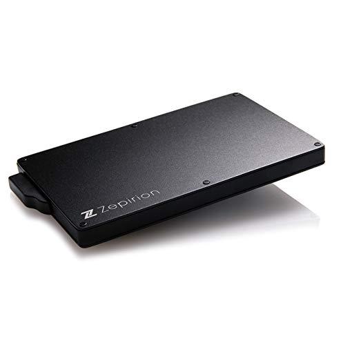[zepirion] クレジットカードケース スキミング防止 磁気防止 スライド式 スリム マネークリップ付き アルミニウム ブラック