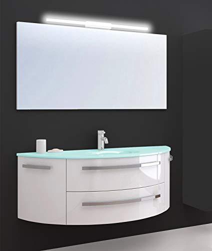 Oimex Cote Azur 120 cm Badmöbel mit LED Spiegel Hochglanz Weiß Badezimmer Set mit viel Stauraum Waschtisch Unterschrank Glas Waschbecken