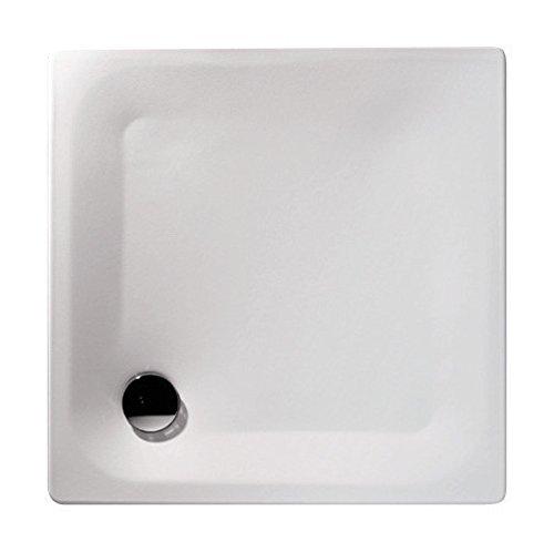 'aquaSu® Stahl-Brausewanne Sunda | Extra flach | 90 x 90 x 2,5 cm Weiß