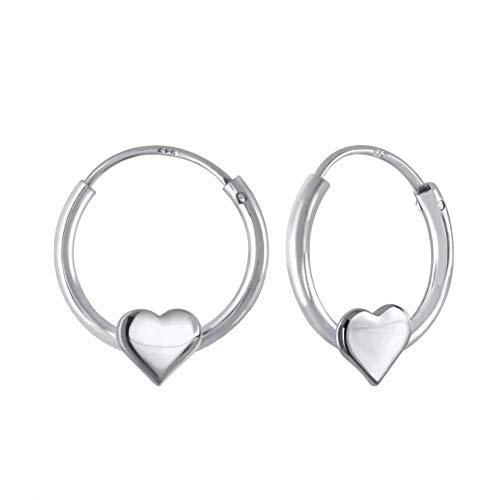 Laimons Mädchen Kids Kinder-Ohrhänger Ohrringe Creole Kinderschmuck Herz 6mm Sterling Silber 925