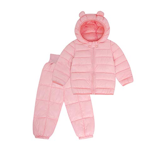 Winter Outwear Set for Kids with Padded Hoods Light Puffer Jacket+Pant for Baby/Infants/Toddlers Boys and Girls (Pink, 6-12 Months)