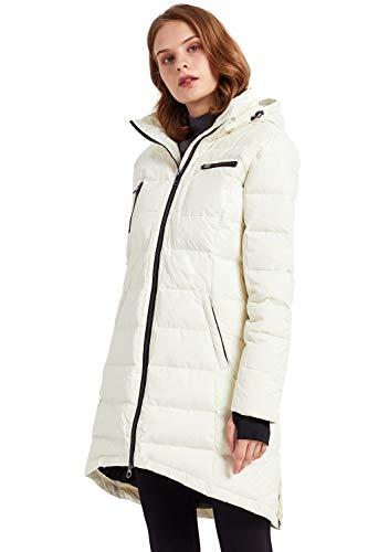 Orolay Abrigo de Chaqueta de Plumíferos para Mujer de Longitud Media blanco Small