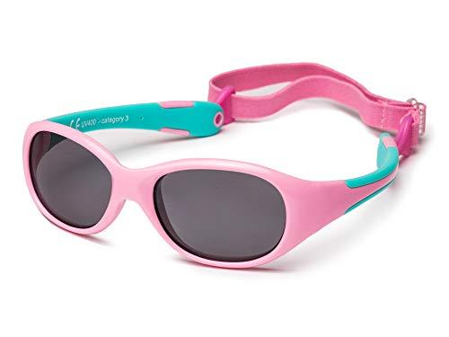 Kiddus Sonnenbrille aus Einem Stück. Für Babys Jungen Mädchen. Alter 0 bis 24 Monate. Sicherer UV400 Sonnenfilter. Einstellbares Abnehmbares und Elastisches Band. Unzerbrechlich. ALLROAD