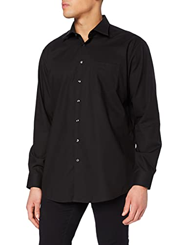Seidensticker Herren Business Hemd Regular Fit Langarm, Schwarz (84), 45