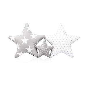 Juego de 3 cojines decorativos con diseño de estrella, aprox. 60 cm/28 cm, para habitación de los niños, con relleno, para dormitorio, habitación de bebé, niña, niño