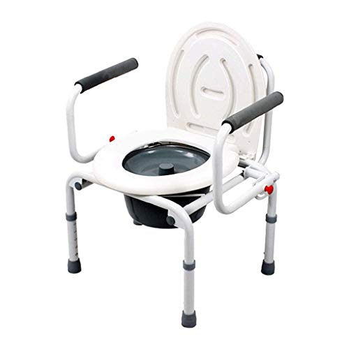 LXDDP Medical Steel Klappbett Kommode/Klapp 3-in-1 Toilettensitz Stuhl Töpfchen Bad Stuhl Mobile Toilette