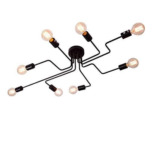 CARYS Deckenleuchte Wohnzimmer Vintage Pendelleuchte Deckenlampe Schwarz Hängeleuchte Lampenschirm Industrielle 8-flammig Hängelampe Lampe E27 Leuchtmittel metall Esszimmer Schlafzimmer Flur Bar Café