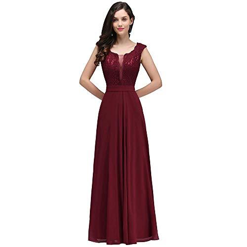 Damen Elegant A-Linie Chiffon Abendkleid Ballkleid Cocktailkleid lang Brautjungfernkleid lang...