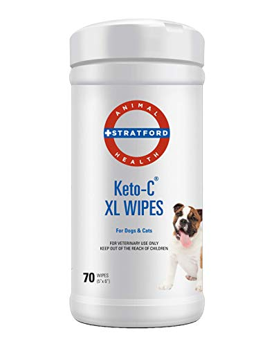 Stratford Keto-C (Ketoconazole Chlorhexidine) Antiseptic Antibacterial Antifungal Wipes for Dogs, Cats, and Horses Cucumber Melon 70 XL Wipes