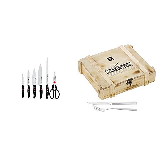 Zwilling TWIN POLLUX Set de 5 cuchillos y tijera doméstica multiusos + Juego de cubiertos para bistec para 6 personas, 12 piezas, 6 cuchillos para bistec y 6 tenedores para bistec