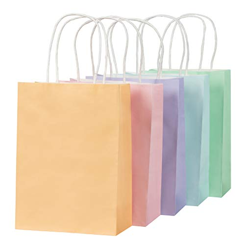 Pastel Paper Bags with Handles for Easter Party Favors (25 Pack)
