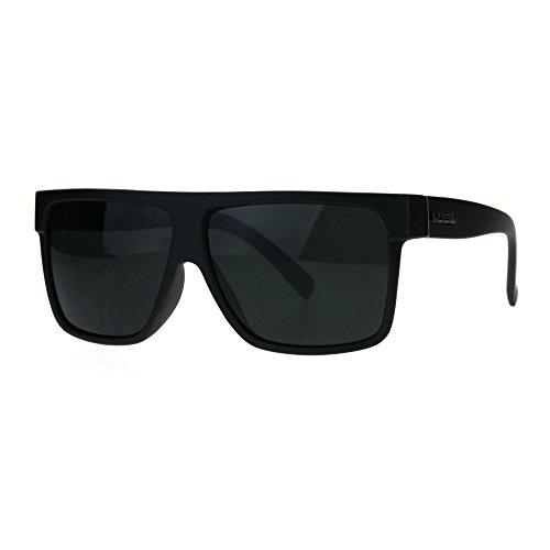 Kush Pot Logo Large Squared Flat Top Mobster All Black Gangster Sunglasses Matte Black